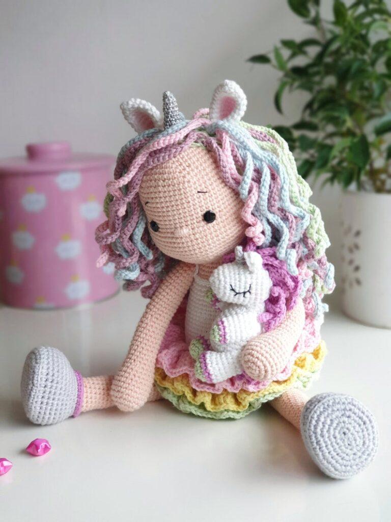 """Lelia Amigurumi crochet pattern """"Lou the unicorn doll!"""" by AmalouDesigns"""