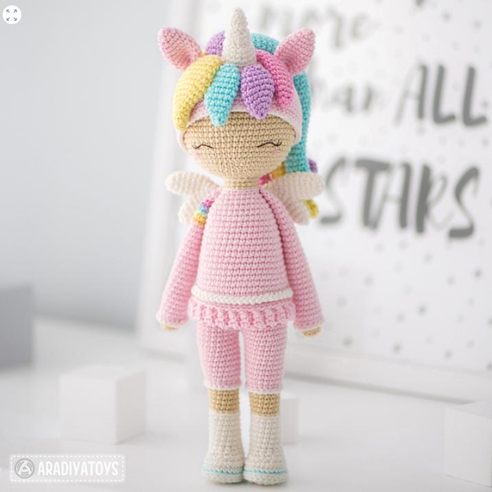 Lelia Friendy Emily the Unicorn Doll by Olka Novytska